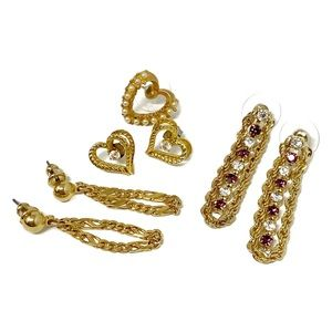 5 Pairs of Vintage Gold Chain & Heart Earrings